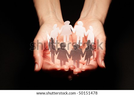 People abstract in palm - stock photo