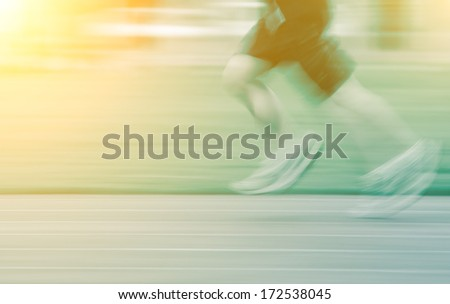 people activity, running blur on sport ground. - stock photo