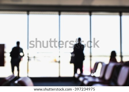 People Airport Business Travel Communication Agreement Concept, blurred - stock photo