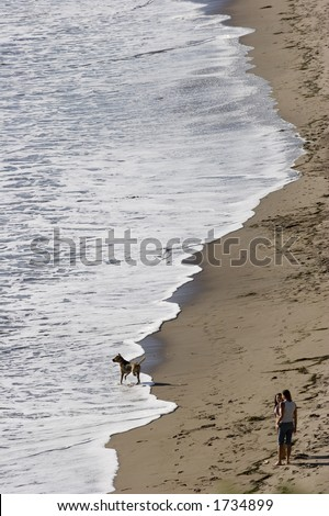 People and Dog - stock photo