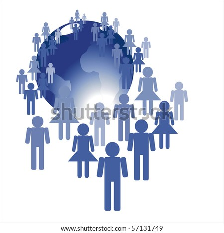 People and earth globe - stock photo