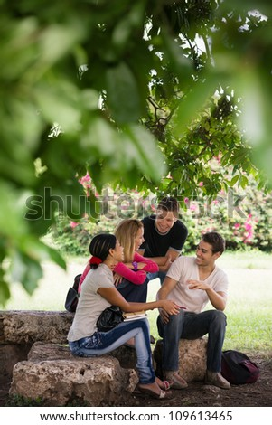 People and education, college students meeting and doing homework together in park - stock photo