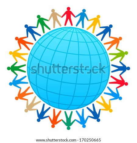 People and globe. Raster version of EPS image 27804877 - stock photo