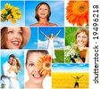 People and nature. Women, healthy lifestyle, ecology, nature, flowers, blue sky - stock photo