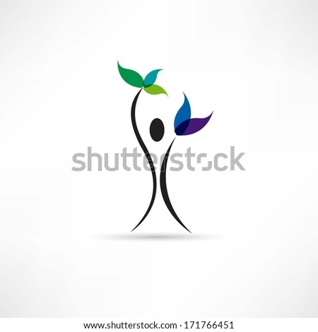 people and plant icon - stock photo