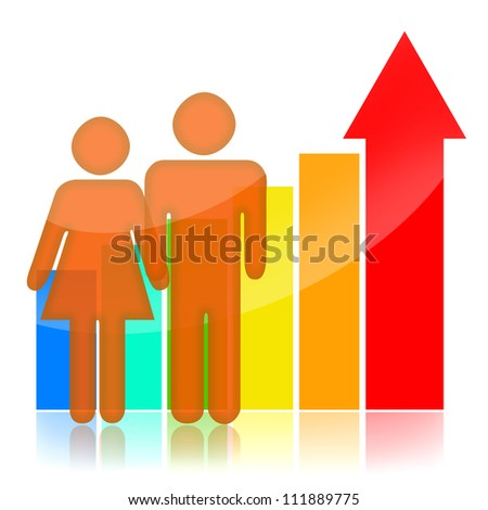 People and statistical graph over white background - stock photo