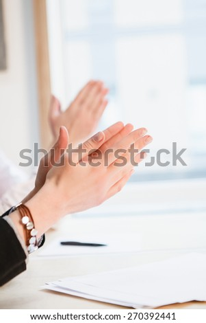 people applauding in a meeting, work, success - stock photo