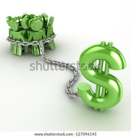 People are dependent on money - stock photo