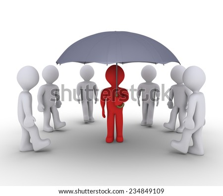 People are walking to find shelter under an umbrella - stock photo