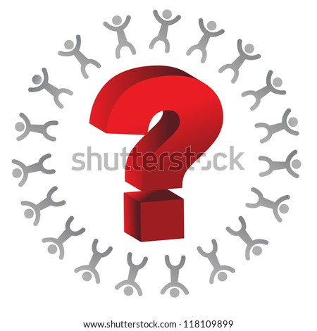 people around a question mark illustration design over white