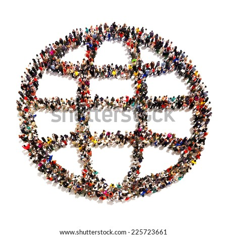 People around the world. Large group of people in the shape of an Abstract World on a white background. - stock photo