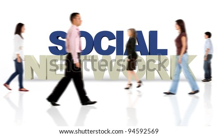 People aroung the social network isolated over a white background - 3D text - stock photo
