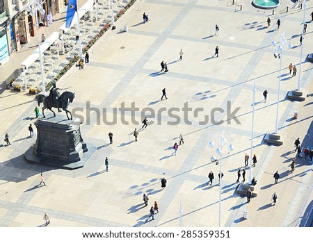 People at Ban Jelacic Square in Zagreb , Croatia  - stock photo