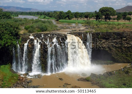 People at Blue Nile Falls in Ethiopia - stock photo