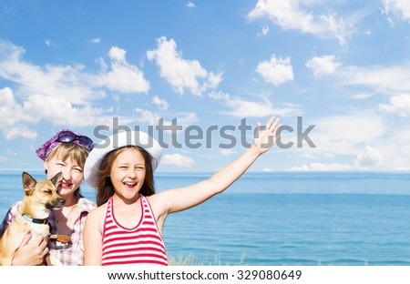 People at sea - stock photo