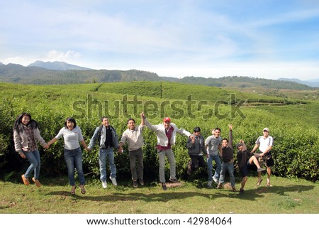 people at tea farming cheerful