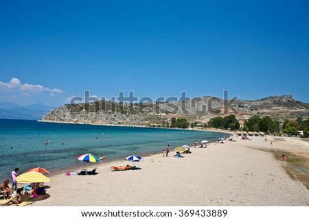 People at the beach in the  Peloponese in greece