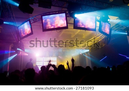 People at the concert, blurred motion - stock photo