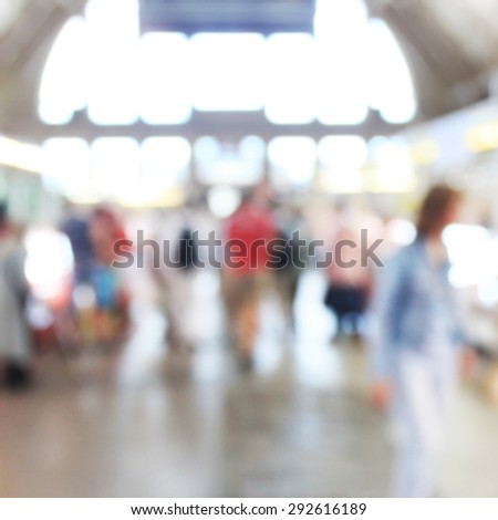 People at the food market, blurred unrecognizable background - stock photo
