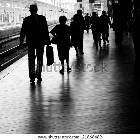 People at the Train Station - stock photo