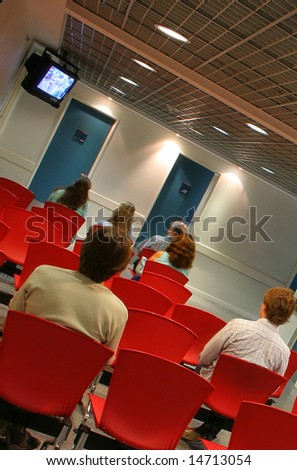 People at the waiting room - stock photo