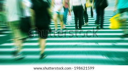 people at the zebra crossing - stock photo