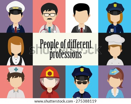 People, avatar male and female, human faces, social network icons, illustration, colorful faces, set in trendy flat style, icons - stock photo