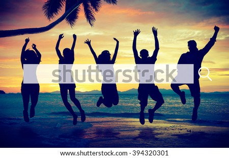 People Beach Party Summer Holiday Vacation Concept
