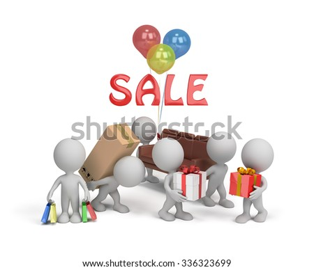 People buy goods on holiday sales. 3d image. White background. - stock photo