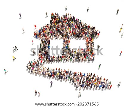 People buying real estate. Large group of people in the shape of a house symbolizing people in search of homes or buying ,renting or construction of homes in a successful market on a white background. - stock photo