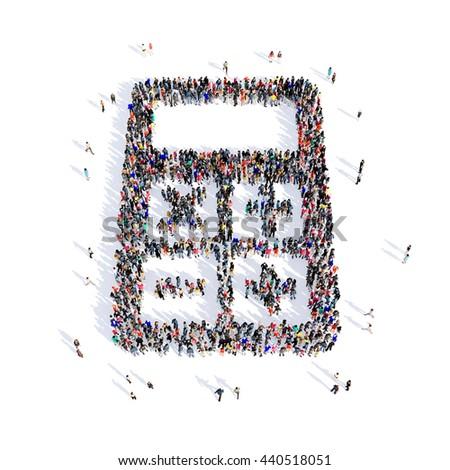people calculator shape 3d - stock photo