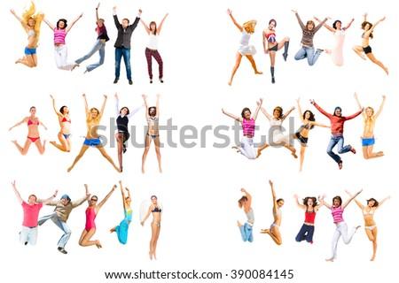 People Celebrating Isolated   - stock photo