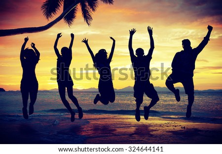 People Celebration Beach Party Summer Vacation Concept