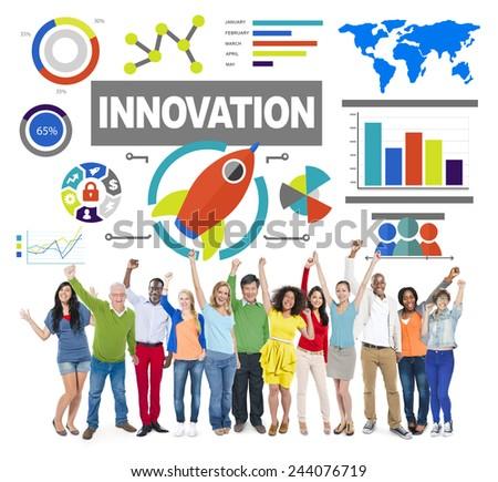 People Celebration Creativity Growth Success Innovation Concept - stock photo