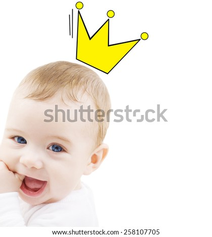 people, childhood, royalty and happiness concept - close up of happy smiling baby with crown doodle - stock photo