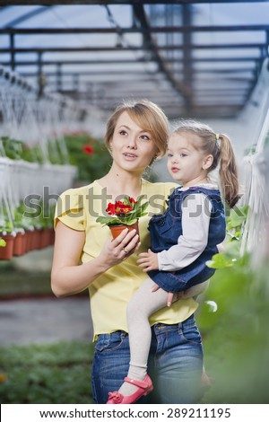 people - children, gardening and occupation concept - happy children taking care of the flowers in the greenhouse. Mom showing baby flowers and playing with your child - stock photo