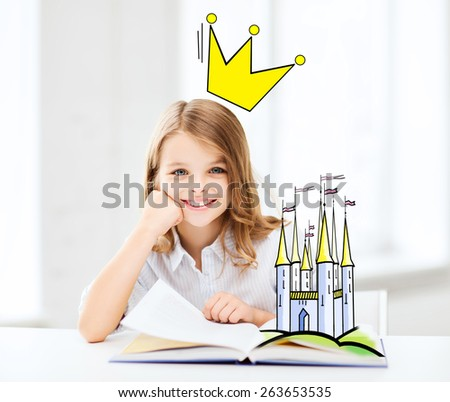 people, children, imagination and fairy tales concept - smiling girl reading book at home with castle and crown doodle over head - stock photo
