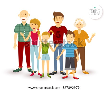 People collection: happy family group generation with dad mom, children and grandparents in flat style illustration.  - stock photo