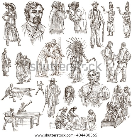 PEOPLE. Collection of an hand drawn illustrations. Description, Full sized hand drawn illustrations - freehand sketches. Drawings on white background. - stock photo