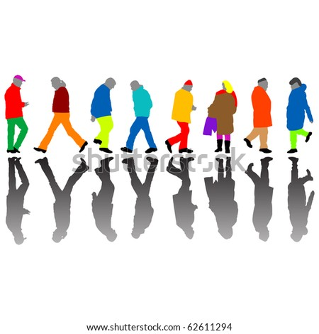 people colored silhouettes against white background, abstract art illustration; for vector format please visit my gallery - stock photo