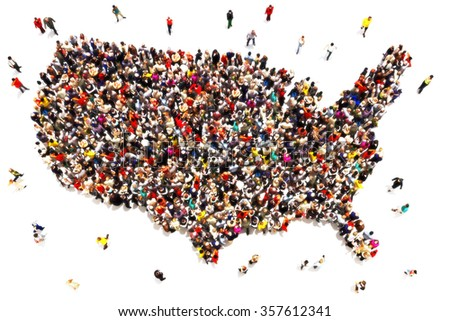 People coming to America concept. Large group of people forming the United States of America. Immigration, travel, visiting, refugee, integration concept.  - stock photo