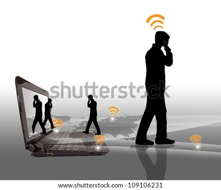 People communicate by telephone - stock photo