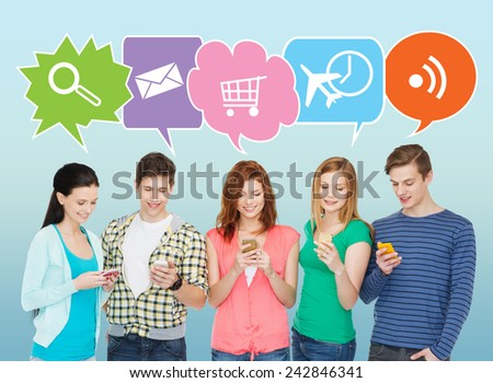 people, communication and technology concept - smiling friends with smartphones over blue background with doodles - stock photo