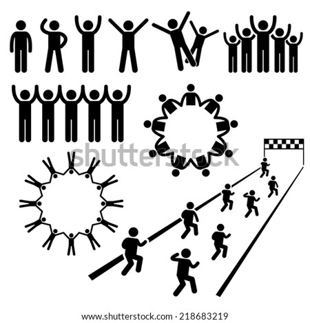 People Community Welfare Stick Figure Pictogram Icons - stock photo