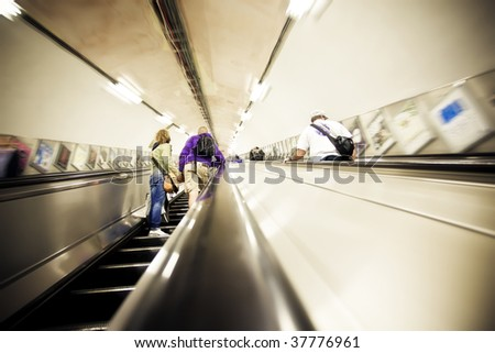 People commuting between subway stations - stock photo