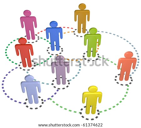 People connect in a circle connections social business network - stock photo