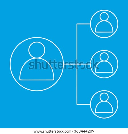 People connecting line icon. Internet friends contour symbol on a blue background - stock photo