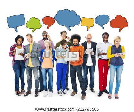 People Connecting Through Technologies and Speech Bubbles - stock photo