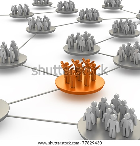 People connection. White isolated 3d - stock photo