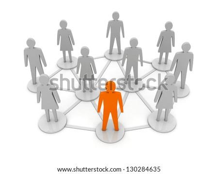 People connections. Unique, leadership. Concept 3D illustration - stock photo